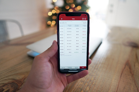 Forex table on smartphone.